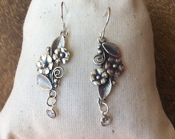 Silver flower swarovski crystal earrings