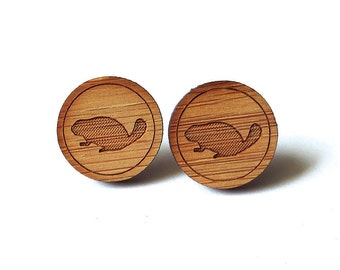 Beaver Earrings. Wood Earrings. Stud Earrings. Laser Cut Earrings. Bamboo Earrings. Gifts For Her. Gift For Women. Canadian Beaver. Woodland