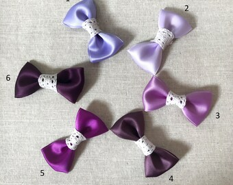 Satin & lace tones for little girls purple Barrette