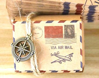 100 Postal Gift Boxes/DIY Air Mail Stamped Favor Gift Box/DIY Safe Travels Favor/Around the World Gift Box/DIY Postal Stamp Party Favor Box