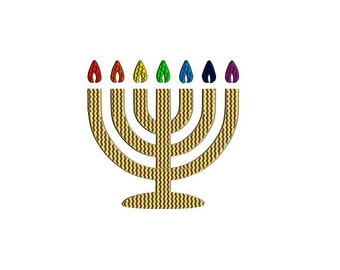 Menorah embroidery design. Hannukah Menora embroidery design. Chanukah embroidery design. Hannukah decor.
