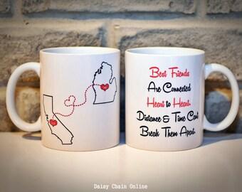 Custom State Coffee Mug | Best Friends Mug | Personalized Mug | Gift for BFF | Gift for Sister | Gift for Mom | Christmas Gift for BFF