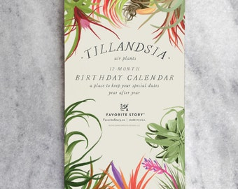 Perpetual Calendar, Birthday Calendar, Tillandsia, Air Plants, Botanical Illustrations