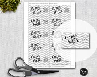 Printable Diaper Raffle Tickets, Script Diaper Raffle Ticket, Grey Chevron Background, Instant Download