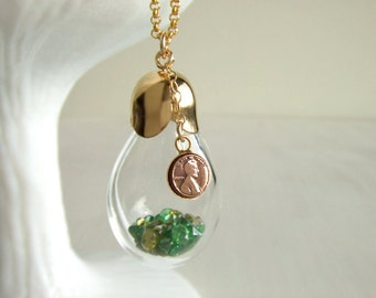 Lucky Penny Bottle Necklace - Emerald Stone - Peridot Stone - May Birthday - August Birthday - Gift for Her / Shaker Pendant