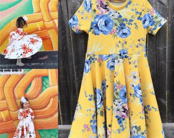 Spring Yellow Roses Full Twirl Dress  Custom Dress Easter Spring Collection LIMITED Easter 2 3 4 5 6 8 10 12