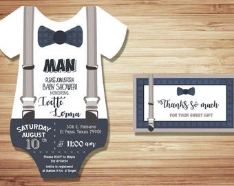 20 baby suit cardstock baby shower invitation little man boy label tag baby