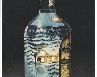 1981 Advertisement Chivas Regal Winter Christmas Trees Home for Bottle 80s Restaurant Bar Pub Restaurant Wall Art Decor