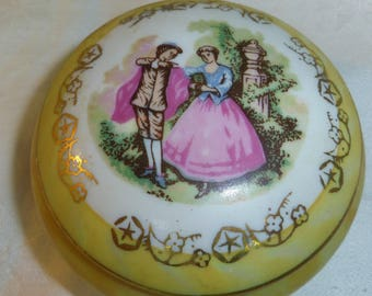 50% OFF, Trinket Box, Yellow Luster Ware  with Courting Couple Transfer Print , Footed Made in Japan