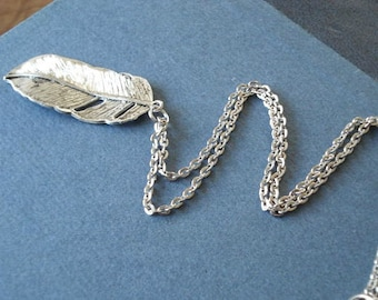 Silver Feather Necklace Feather Necklace Pendant Feather Jewelry Good Luck Charm Necklace