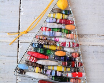 I'll Be Home... Christmas Ornament, Paper Bead Ornament, Handmade Christmas Ornament, Upcycled Ornament, Paper Ornament, Fair Trade Ornament