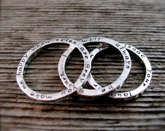 Set of Three Personalized Stackable Secret Poetry Rings in sterling and new lowercase font