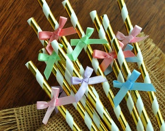 Rainbow Birthday Party Supplies. Unicorn Straws. Handcrafted in 2-5 Business Days. Unicorn Gold Straws with Bows. 10CT.