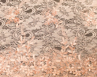 Mia BLUSH Floral Sequined Corded Vine Embroidered Scalloped Edge Lace Fabric by the Yard - SKU 1008