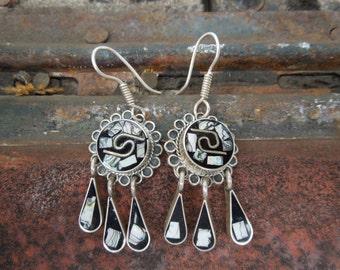 Sterling Silver Earrings Mexican Black Enamel Abalone Long Dangle