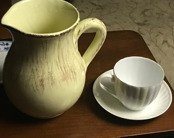 Mid-century Italian pottery pitcher glazed in a pale yellow glaze with gold brushed accents  1960's PLUS FREE CUP!