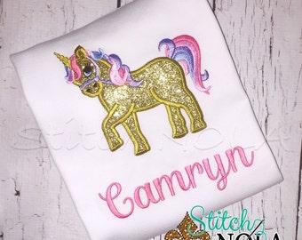 Unicorn Birthday Tee, Bodysuit or Gown, Unicorn Applique, Carousel Horse Birthday Shirt, Carousel Applique, Horse Birthday, Pony Birthday