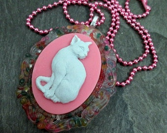 Cameo Necklace - White Cat Cameo  - Rainbow Sugar Sprinkles - Resin Kitty Pendant - Kawaii Jewelry - Pink Cat Necklace