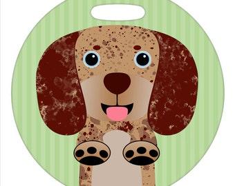 Luggage Tag - Dachshund Chocolate Tan Dapple - Round Plastic Bag Tag