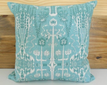 Teal, seafoam ikat decorative pillow cover