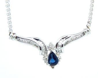 Art Deco Style 14K White Gold 1.23 ct Pear Shaped Sapphire and Diamond Necklace
