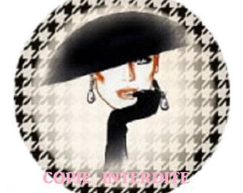 cabochon 25mm, high fashion, hat and gloves