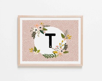 Blush Monogram T Nursery Art. Nursery Wall Art. Nursery Prints. Blush Wall Art. Personalized Wall Art. Monogram Art. Floral Art.