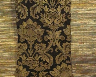 Vintage DAMASK Brocade Curtain Panel TEXTILE Floral gold metallic 72x14 table runner