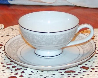 Imperial China WHITNEY Footed Tea Cup with Saucer W Dalton #5671