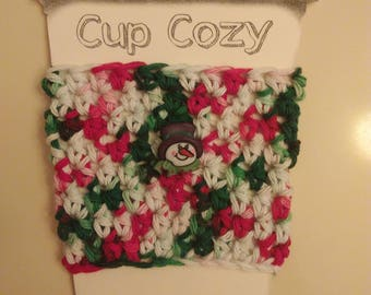 Christmas Crochet Cozy, Coffee Sleeve, Stocking Stuffer, Christmas Cozy