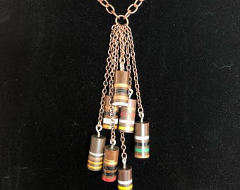 Copper Necklace - Resistors Necklace - Carbon Resistors Necklace - Copper Chain - Cluster - Pendant - Pendant Necklace -