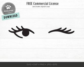 Winking Eyes SVG | Winking Eye Cut File Cuttable | Winking SVG | Eyelashes Girl Svg | Lashes Svg Fashion Face Cut File Trendy Makeup Clipart