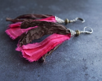 Hot Pink and Brown Silk Earrings, Boho Style Colorful Jewelry