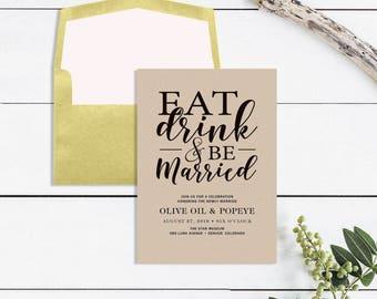 Eat Drink and Be Married Wedding Reception Invitation Card - Rustic Wedding Invitation - Kraft Paper Invitation - Printable DIY