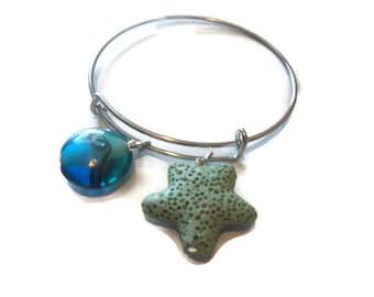 Starfish Bangle Bracelet, Lava Stone Bracelet, Nautical Beach Bracelet, Oil Diffuser Bracelet, Diffuser Jewelry, Wedding Beach Jewelry