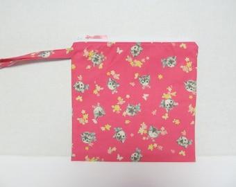 "Wet Bag9""x9""/Cat On Pink x White Zipper"