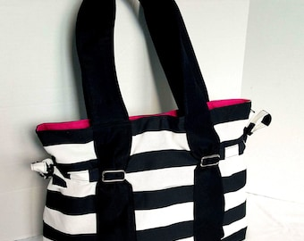 Large Diaper bag,purse, handbag black and white stripe with pink canvas lining. With or without bottle pockets and key pocket on the front.