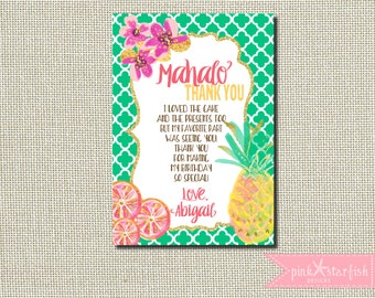 Aloha Invitation, Aloha Thank You, Luau Invitation, Luau Birthday Invitation, Hawaiian Birthday Invitation, Thank You, Digital