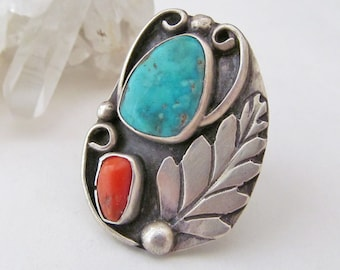 Big Sterling Silver Turquoise Ring, Large Statement Ring, Vintage Southwest Native American Jewelry, Coral & Turquoise Ring, Multistone Ring