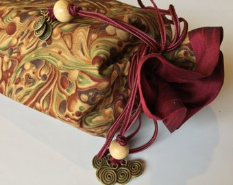 Mahjong Standard Rack Bag ~ draw-string ~ cotton shell and satin lining