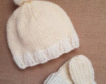 Baby Bo Cream Knitted Baby pom pom Hat and Mitt Set, Baby Knits, chunky knit, baby, Newborn