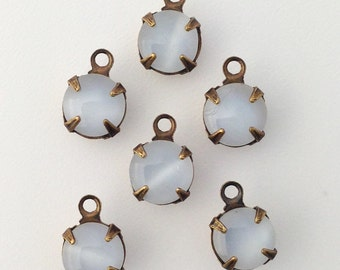 White Moonglow Glass Stone 1 Loop Brass Ox Setting Drops 7mm (6) rnd007DD