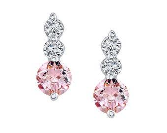 Barkevs, Morganite & Diamond White Gold Earrings, Gold Earrings, Diamond Earrings, Earrings, Diamond Studs, Morganite Studs, MO-5593E