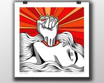 """Revolution - Original Pop Art Giclee Print 16""""/20""""/30"""" Square"""
