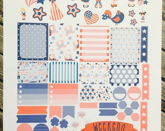 Weekly Planner Stickers Set 4th of July Girls