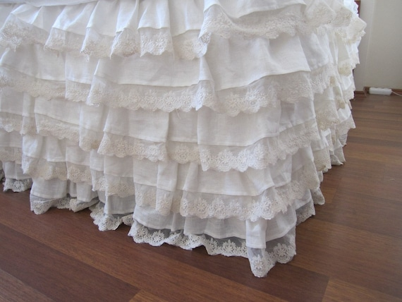 Ivory Shabby Chic Bedding: Linen Bed Skirt Ivory Lace Waterfall Ruffled Bedding-bedskirt