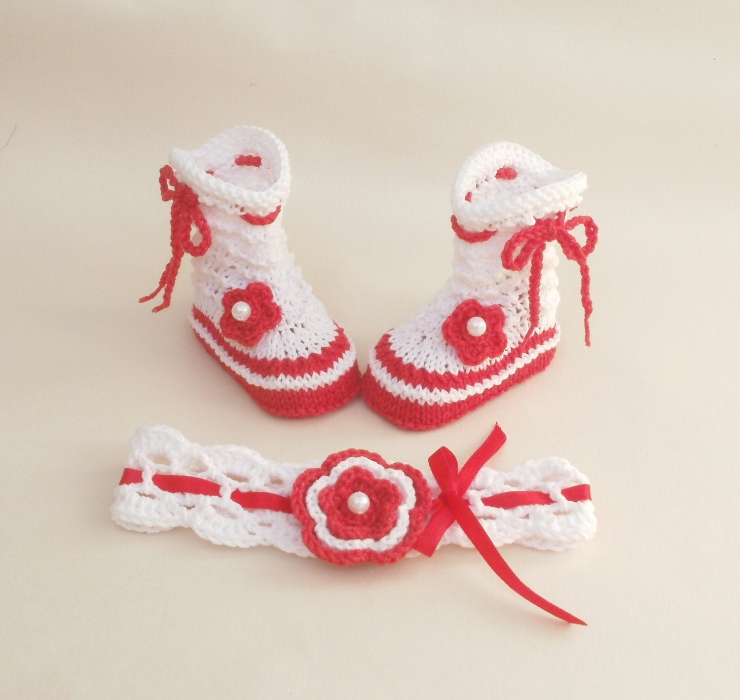 Red And White Baby Socks And Headband Red Socks For Baby