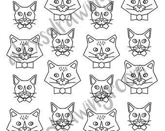 Printable coloring page, coloring sheet, coloring page, adult coloring book, cat coloring, geometric, printable coloring, colouring, cats