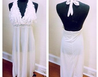Vintage 1960s White Ruffled Lingerie/Nightie - S