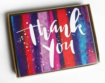 Watercolor Thank You Cards Box Set of 5